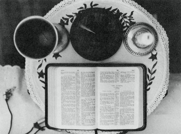 Photograph of the Bible, chalice, censer, and candle used in the Law of One sessions